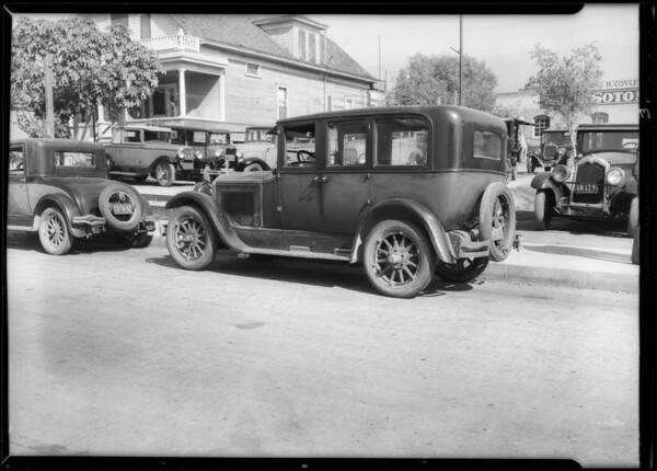 Ford sedan and scene of accident, San Fernando Road, Burbank, CA, 1934