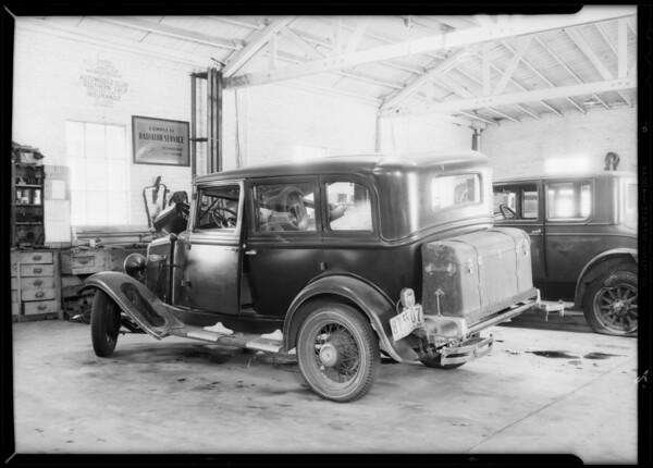 Chevrolet sedan, Harrison & Nichols, assured, Southern California, 1932