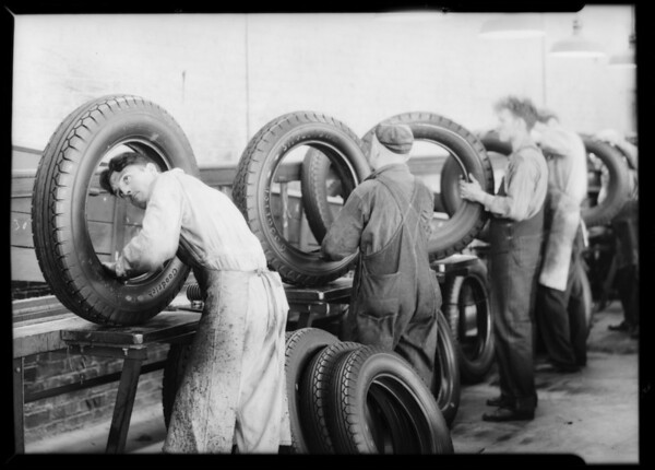 Publicity photos in factory, Southern California, 1932