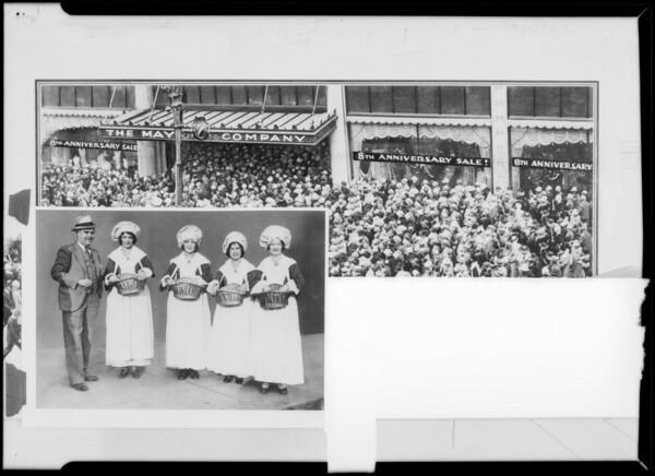 Girls and crowd at May Company, Southern California, 1931