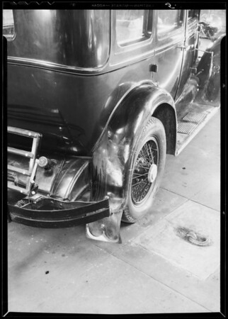 Wrecked Hupmobile - showing repair conditions, Southern California, 1933