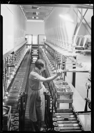 Bottling water at Arrowhead for Mildred Kitchen, Southern California, 1931
