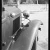 Ford sedan and scene of accident, San Fernando Road, Burbank, CA, 1934