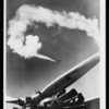 Plane propeller & smoke screen, plane composite, Southern California, 1933