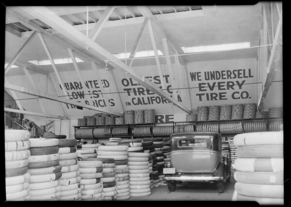 Tire stores, Los Angeles, CA, 1932