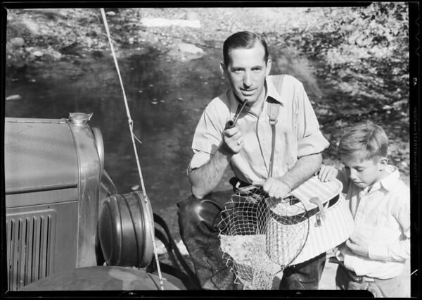 A.G. Carter of Pasadena fishing, Southern California, 1933
