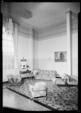 Lobby of Hollywood school, Woodbury Business College, Los Angeles, CA, 1932