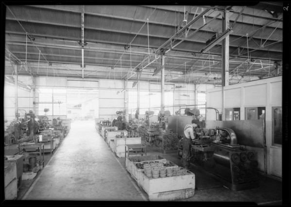 Interior of plant and close-up of pump, Southern California, 1931