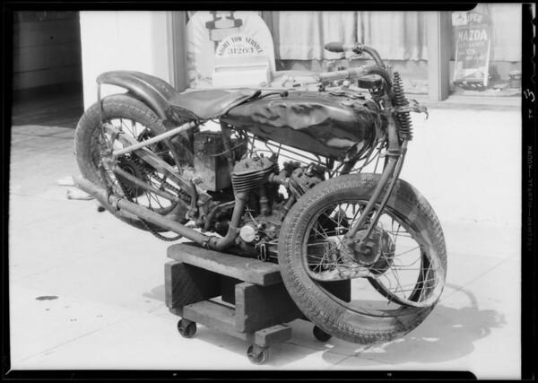 Motorcycle, Bill Gurney, owner, license #8-906, Lawrence Garage, Santa Monica Boulevard - Sawtelle, Southern California, 1933