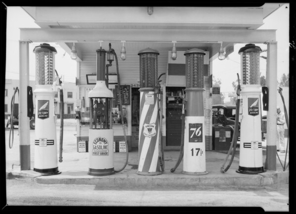 Pumps at Nielson service station, 1st & Commonwealth, Southern California, 1932