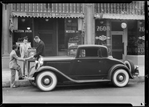 Plymouth with air wheels driven from Chicago, Los Angeles, CA, 1933