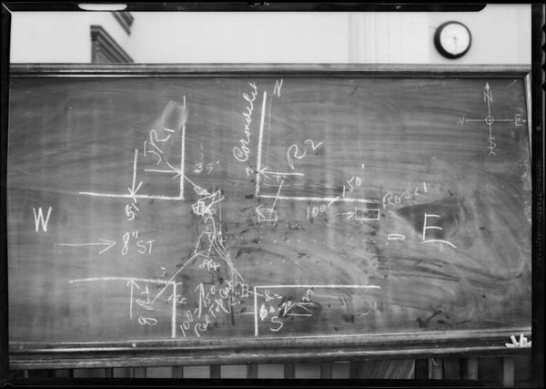 Blackboard, Southern Security Co., Cassanovia vs. Red Top Cab, Southern California, 1932