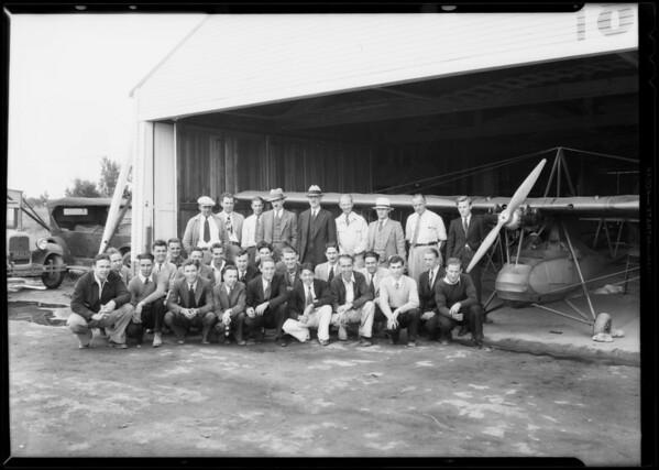Aeronautics class at Cycloplane Co. hangar, Southern California, 1931
