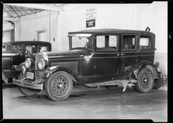 Damage to car, Southern California, 1932
