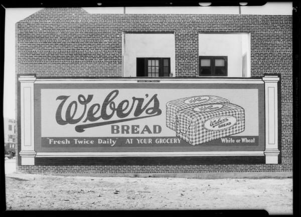 Bulletins painted on building, 7860 South Western Avenue, Los Angeles, CA, 1932