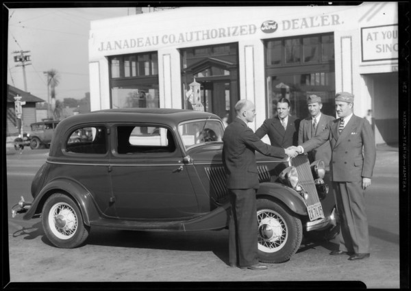 Mr. Barcley and legion men with Ford, Southern California, 1934