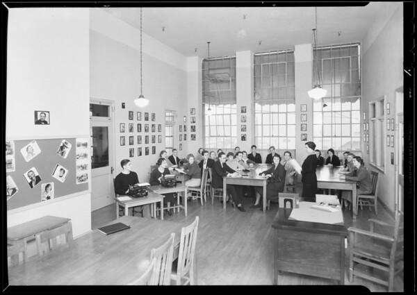 Studio room, Hollywood school, script club, Woodbury College, 727 South Figueroa Street, Los Angeles, CA, 1933