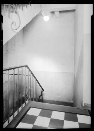 Case of Mrs. Gregg vs. Masonic Club, stairway at Army and Navy Club, 623 1/2 South Grand Avenue, Los Angeles, CA, 1932