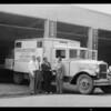 Arrival of diesel cross country truck, Southern California, 1931