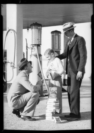 Giving Tarzan books to children, Southern California, 1933