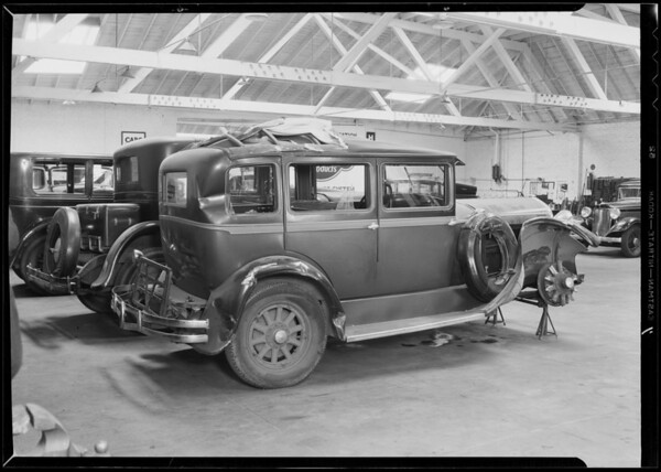 Wrecked Hudson belonging to Harry Cadal at Copple Auto Body Works, Southern California, 1932