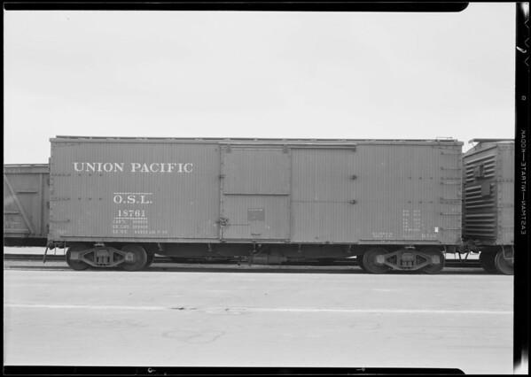 Union Pacific boxcar, Southern California, 1931