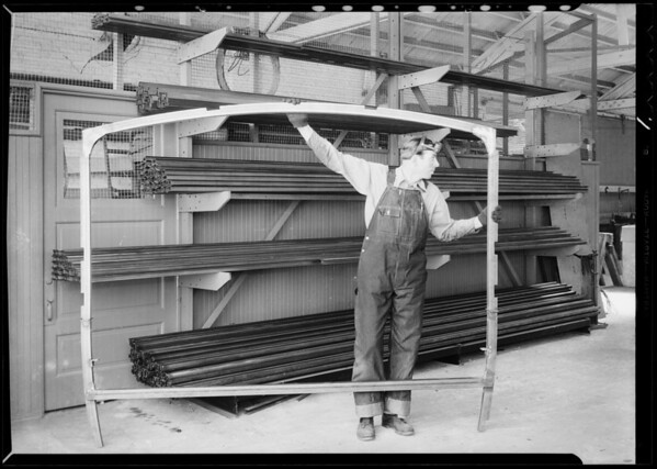Welding frame and parts, Southern California, 1932