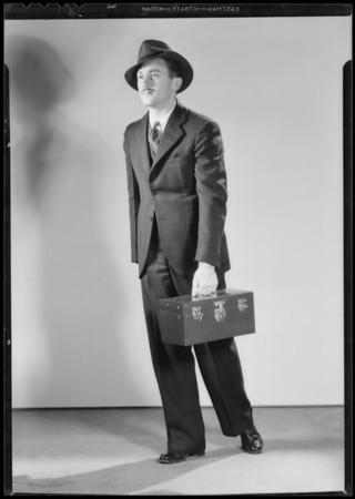 Walking with radio kit, Southern California, 1932