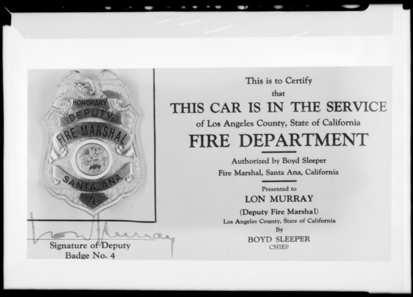 Fire department badge, Southern California, 1932