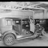 Wrecked Oldsmobile sedan, Belvedere, Southern California, 1932