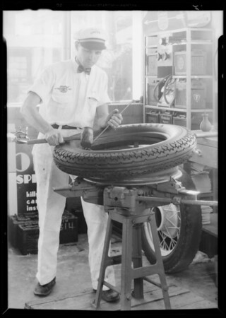 Tire service and lubricating service, Southern California, 1933