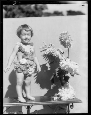 Little girl & dahlias, Southern California, 1933