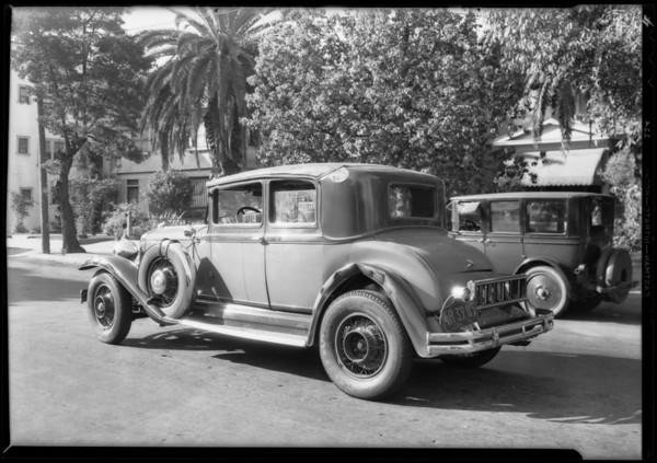 Studebaker President Eight, coroner's office at 620 West 18th Street, Los Angeles, CA, 1931