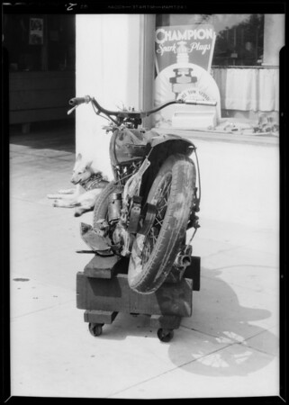 Motorcycle, Bill Gurney, owner, license #8-906, Lawrence Garage, Santa Monica Boulevard - Sawtelle, Southern California, 1933