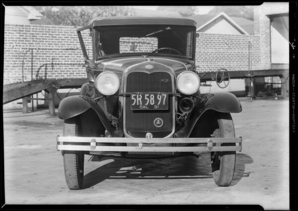 Ford sedan, H.E. Koonz, owner, Southern California, 1931