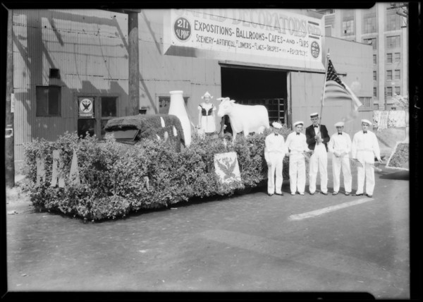 Float in National Recovery Administration parade, Los Angeles, CA, 1933
