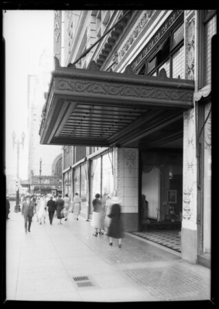 Marquee over 8th Street entrance, May Co. building, Southern California, 1932