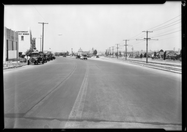 Chevrolet sedan and intersection of Crenshaw Boulevard and South Leimert Boulevard, Los Angeles, CA, 1931