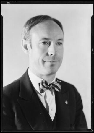 Portraits in studio, Mr. Benlow, Southern California, 1931