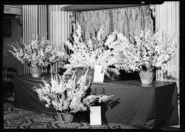 Table of gladioli at Biltmore Hotel, Los Angeles, CA, 1932