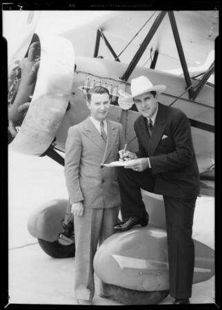 Ken Maynard, Cliff Henderson, United Airport [Bob Hope Airport], Burbank, CA, 1933