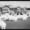 Easter rabbits and new building exterior and chapel, Southern California, 1935