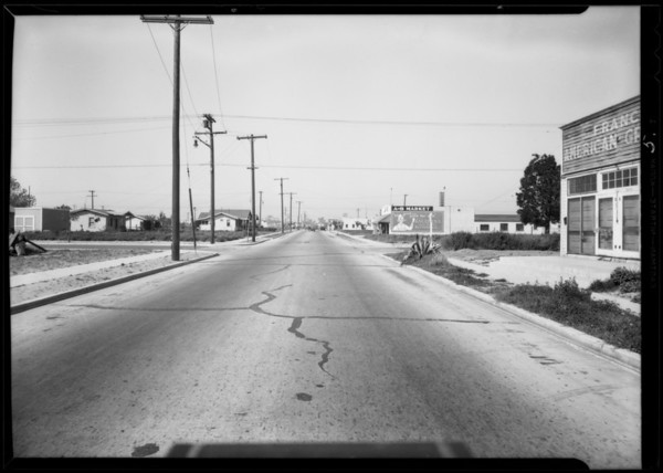 Intersection of Broadway & California Avenue, Dodge belonging to Elmer Brock, Huntington Park, CA, 1932