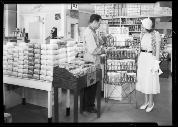 Cellophane displays, Safeway stores, Southern California, 1932
