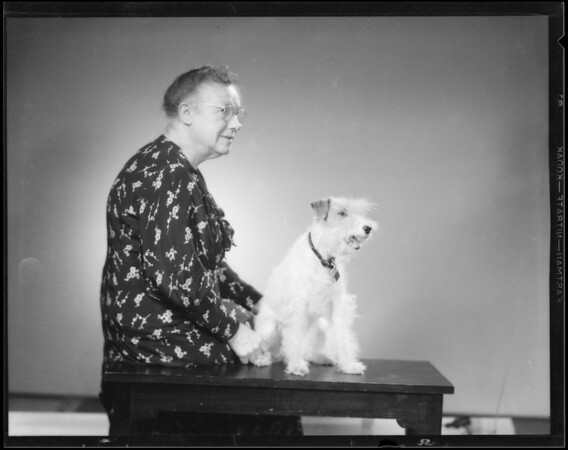 Mrs. Capito and wire haired terrier, Southern California, 1935