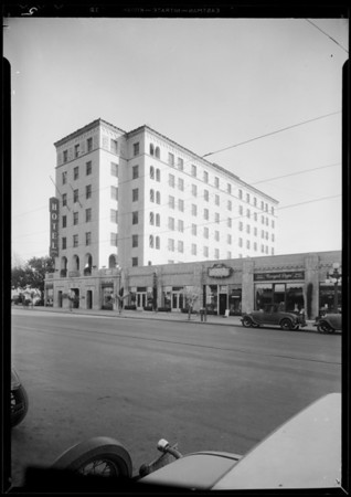 Interior & exterior views of Constance Hotel, Pasadena, CA, 1932