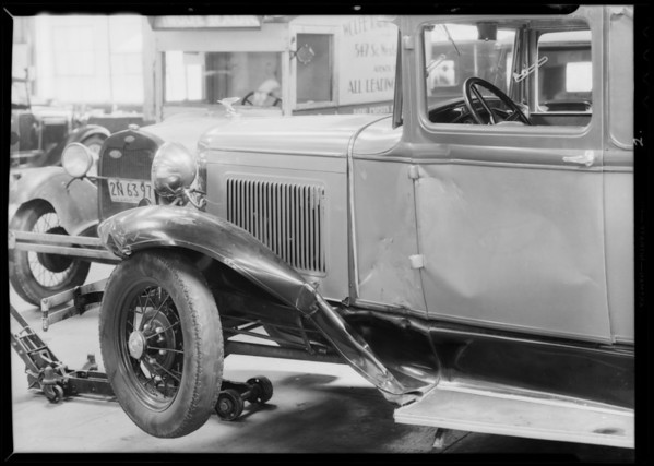 Ford coupe, J.E. McAlpnie, assured, vs. C.W. Irwin, Southern California, 1932