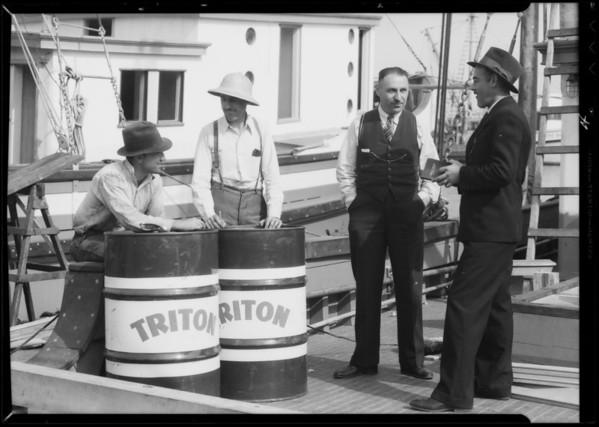 Triton Oil used on fishing boats, Southern California, 1935