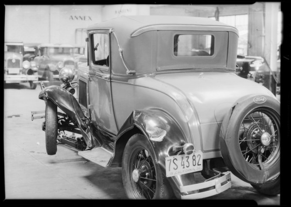Ford coupe, J.E. McAlpnie, assured, vs. C.W. Irwin, Southern California, 1932