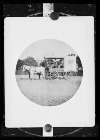 Old horse & wagon photo, Southern California, 1935